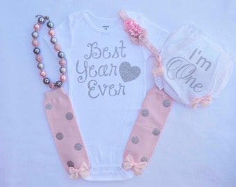 First Birthday Outfit Girl Cake Smash Outfit Girl 1st Birthday Bodysuit  Pink Outfit  birthday outfit girl 1st birthday girl outfit tu dress