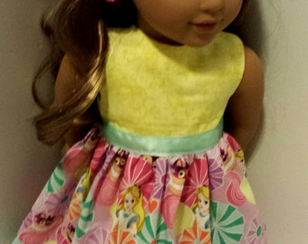 "Custom Alice in Wonderland dress fits 18"" American girl doll Lea clothing"