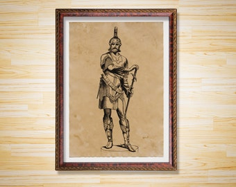 Medieval poster Warrior print Knight decor