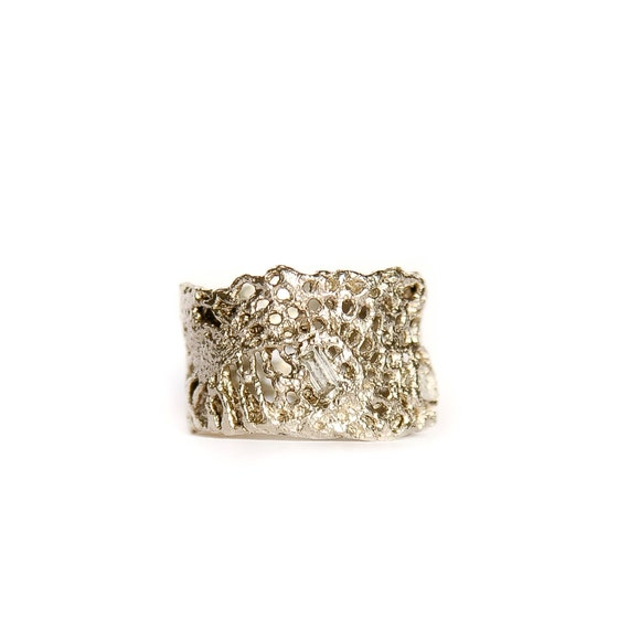 14k white gold lace ring with white sapphires by mokoshjewels