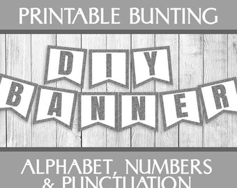 Silver Glitter Printable Bunting, Alphabet set banner, diy party printables, party banner any custom words, silver party buntings, numbers