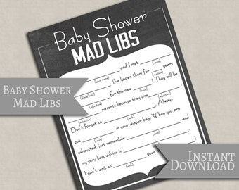 Mad Libs Baby Shower Printable, Chalkboard style baby shower game, digital download games baby showers, baby printable party mad libs S1E1