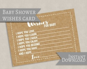 Wishes for Baby Printable Card, Rustic burlap effect, baby shower wishes cards, printable rustic style cards for baby showers, instant