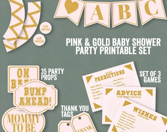Baby Shower Party Printable Set, Banner, Pink and Gold It's a girl Baby Shower props, cupcake wrappers, set of baby shower party games