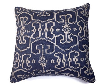 """18"""" Decorative Geometric Pillow Corded Cover - Navy Blue and Beige 18 inch Square"""