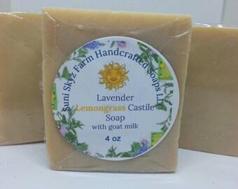 Lavender Lemongrass Castile Goat Milk Soap - Lavender Soap - Olive Oil Soap -Lemongrass Soap - Castile Goat Milk Soap