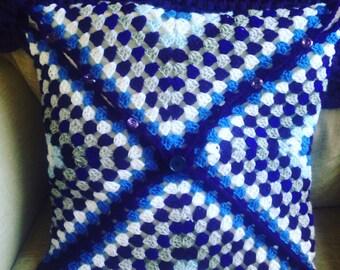 Granny Square Diagonal Crochet Cushion Cover