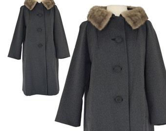 Vintage Coat, 1950s Coat, 50s Coat, Grey Vintage Coat, Princess Coat, Jackie O, Mink Collar, Vintage Wool Coat, Womens, Dress Coat, Large