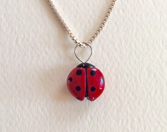 Ladybug Pendant, Hand Sculpted and Painted