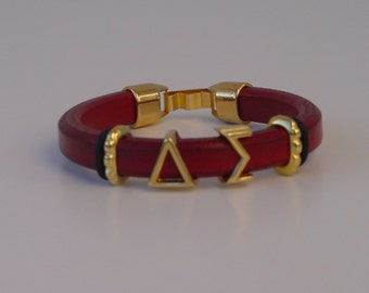 Delta Sigma Greek Sliding Letters Leather Handmade Ladies Bracelet Gold Tone Clasp Initials Alphabet Choose Your Color Iota Theta