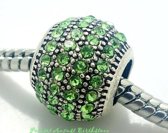 European Charm PERIDOT Green CRYSTAL PAVE Silver Bead Fits Large Hole Pandora European / Bracelets / Necklace August Birthstone
