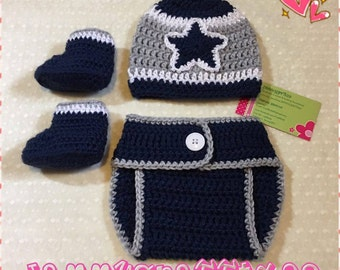 Baby Dallas Cowboys Diaper Cover Set/Baby Football/Newborn Baby/Baby Boy/Baby Girl/Newborn Photo prop/Baby Shower Gift/MADE TO ORDER