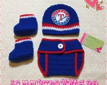 Crochet Baby Texas Rangers Diaper Cover Set/Baby Baseball/Newborn Baby/Baby Boys/Girls/Newborn Photo prop/Baby Shower Gift/Made To Order