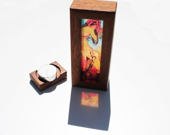 Alphonse Mucha Summer Lightbox with tealight candle holder