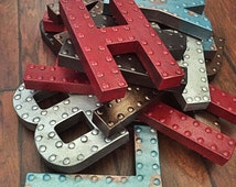 """Faux Metal Letter, 8"""" Metal Finish Letters, Wall Letters, Kitchen Letters, Decorative Letters, Yum Sign, Nursery Decor, Marquee Letter"""