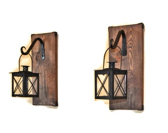 Lantern Sconce, Hanging Candle Lantern Pair, Wood Lantern, Wrought Iron, Restoration Decor, Shelf Hardware, Floating Wall Decor, Tea Light