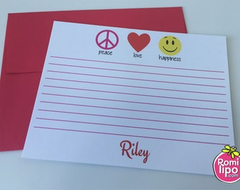 Set of 10 note cards with envelopes, personalized, girl stationary, stationery set, girl note cards, note cards, emoji, emoji stationery