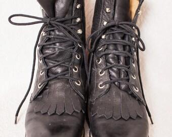Vintage Diamond J Boots, Black Leather Women's Boots, Women's Distressed Black Leather Size 6 Roper Boot, 6 Lace-Up Boots