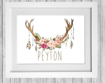 Beautiful antler, flowers and feathers custom girls name print.