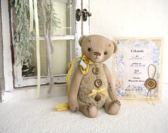 "OOAK Teddy, artist Teddy Bear, artist Teddy bear ""Timon"", bear 18 cm with certificate, vintage, shabby"