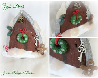 Yule Door for Faeries. Polymer clay and metal