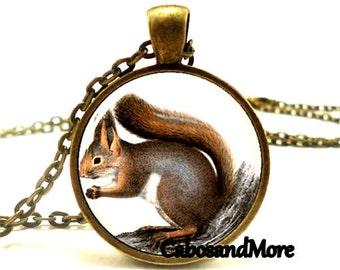 Squirrel necklace necklace squirrel cabochon necklace