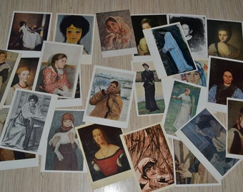Lot of 24 Female portraits on vintage postcards, Woman's image in paintings, Soviet Russian Art Prints, collectible ussr, Printed in USSR
