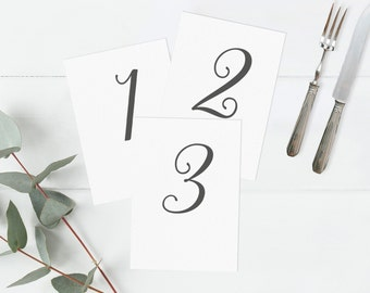 Wedding table number cards, Table number postcards