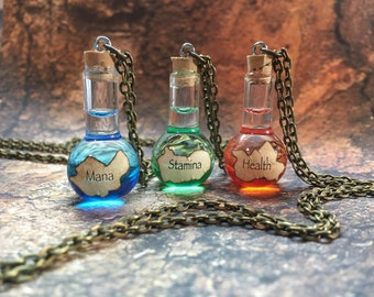 Health, Mana and Stamina Potion Necklaces, Potions, Video Games, Cosplay, Costume Accessories, Jewelry