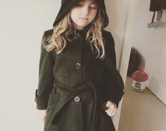 Stunning Forest Green Tartan Lined Wool 70's Trench Coat Age 5-6