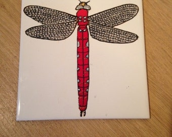 Ceramic Tile Painting, Original, dragonfly creepie crawley insect plaque