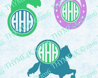Digital Design, Cutting file set of 3 - Horse Monogram Frames- Instant Download -  Svg, png, jpeg, dxf, eps, & studio