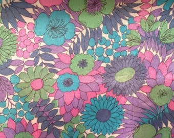 1960s Length of Vintage Acetate Print Fabric