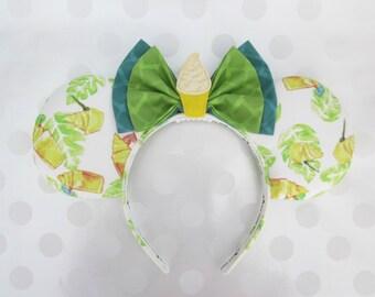 Dole Whip Inspired Mouse Ears Headband, Custom Ears