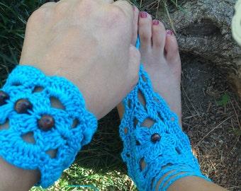 Bohemian, hippie, Barefoot Sandals,  feet accessories, crocheted sandals, Lace Footwear, Beach sandals, Summer foot acsessories