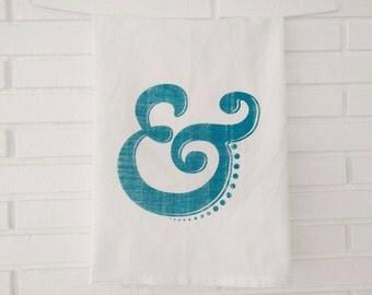 Tea Towel, Hand Printed Flour Sack Towel, Kitchen Towel, Home and Gift, Ampersand, Designer Towel