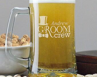 Engraved Wedding Beer Glass- Groomsmen Glass With Name - Groom Crew Beer Glass