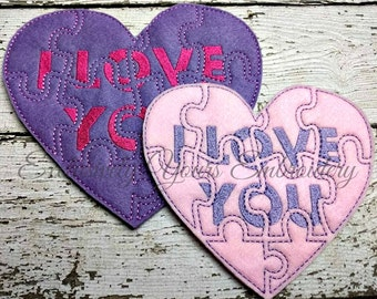 READY TO SHIP Conversation Heart Puzzle w/Storage Pouch, Quiet Game, Toddler Toy, Travel Toy, Party Favor