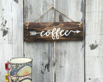 Coffee Sign Rustic Reclaimed Wood Hand Painted Wall Hanging Customized