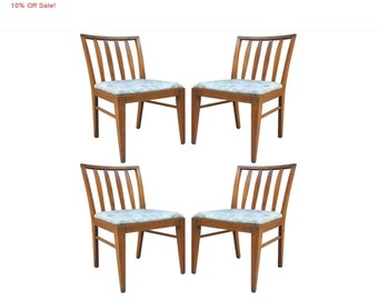 10% Off Sale! Set of 4 Vintage Mid Century Modern Maple Slat Back Side Dining Chairs Paul McCobb Style