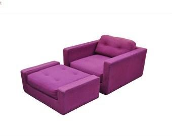10% Off Sale! Vintage Mid Century Modern Selig Cube Form Lounge Arm Chair & Ottoman Baughman Style