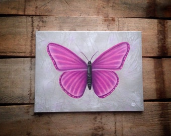 Butterfly painting, canvas board art, gray & white decor, pink and purple accents, pink butterfly, butterfly decor gift, violet butterfly.