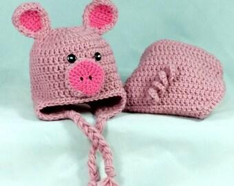 Crochet Newborn Pig Earflap Beanie and Diaper Cover Set/ Photo Prop Handmade