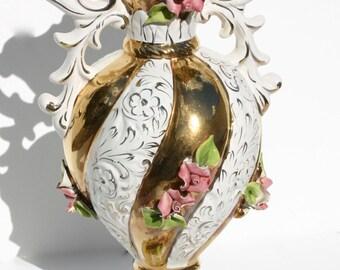Capodimonte Vase, vintage vase, antique vase, rose vase, china vase, antique china vase, opulent vase, large antique vase, Vivo 50s.