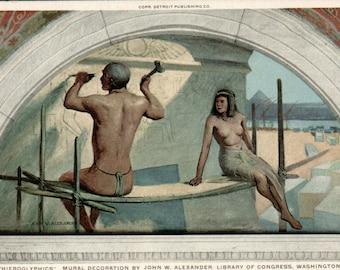 Hieroglyphics Mural Library of Congress Vintage Postcard John H Alexander Washington DC Egyptian Mural Phostint Detroit Publishing