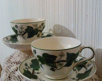 Napoleon Ivy by Wedgwood of Etruria and Barlaston Footed Cup & Saucer Set (2)