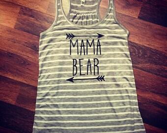 Mama Bear Tank Top|mama bear shirt|tshirt|mom gift