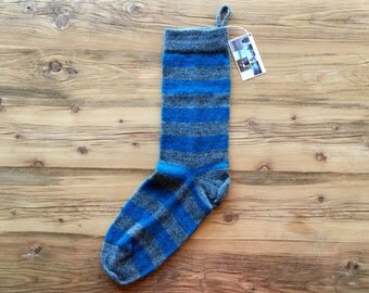 Knit Wool Christmas Stocking with Stripes
