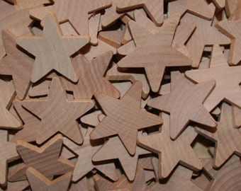"Unfinished Wood Stars 1-1/2"" x 3/16"""