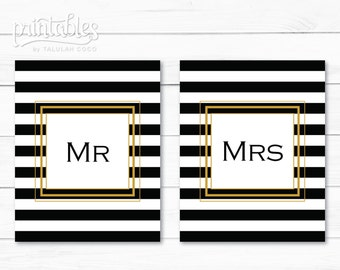 Mr and Mrs Sign Gold Printable, Mr. and Mrs. Chair Signs Black and White Stripes, Mr and Mrs Wedding Decor, Table Signs, DIY Wedding Signs